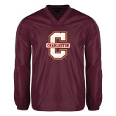 V Neck Maroon Raglan Windshirt-Official Logo - C Charleston