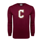 Maroon Long Sleeve T Shirt-C
