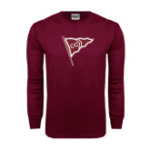 Maroon Long Sleeve T Shirt-CC Sailing Flag Rising
