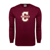Maroon Long Sleeve T Shirt-Official Logo - C Charleston