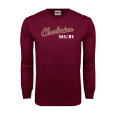 Maroon Long Sleeve T Shirt-Sailing