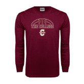 Maroon Long Sleeve T Shirt-Basketball Ball Design