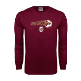 Maroon Long Sleeve T Shirt-Soccer Ball Design