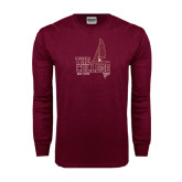 Maroon Long Sleeve T Shirt-Sail Boat Design