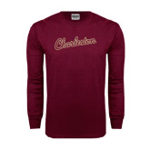 Maroon Long Sleeve T Shirt-Charleston Script