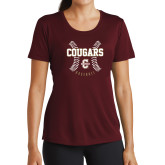 Ladies Performance Maroon Tee-Baseball Ball Design