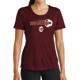 Ladies Performance Maroon Tee-Soccer Ball Design