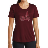 Ladies Performance Maroon Tee-Sail Boat Design