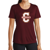 Ladies Performance Maroon Tee-Official Logo - C Charleston