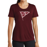 Ladies Performance Maroon Tee-CC Sailing Flag Rising