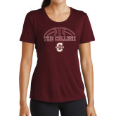 Ladies Performance Maroon Tee-Basketball Ball Design