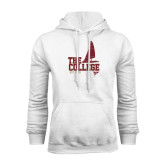 White Fleece Hoodie-Sail Boat Design