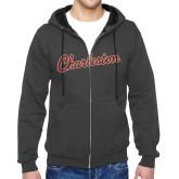 Charcoal Fleece Full Zip Hoodie-Charleston Script