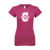 Ladies SoftStyle Junior Fitted Fuchsia Tee-Official Logo - C Charleston