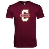 Next Level SoftStyle Maroon T Shirt-Official Logo - C Charleston