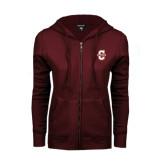 ENZA Ladies Maroon Fleece Full Zip Hoodie-Official Logo - C Charleston