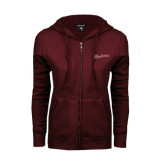 ENZA Ladies Maroon Fleece Full Zip Hoodie-Charleston Script