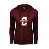 ENZA Ladies Maroon Fleece Full Zip Hoodie-Official Logo - C Charleston
