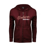 ENZA Ladies Maroon Fleece Full Zip Hoodie-Baseball