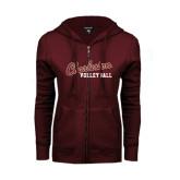 ENZA Ladies Maroon Fleece Full Zip Hoodie-Volleyball