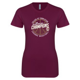 Next Level Ladies SoftStyle Junior Fitted Maroon Tee-CAA Mens Basketball Champions