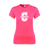 Ladies Performance Hot Pink Tee-Official Logo - C Charleston
