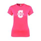 Ladies Performance Hot Pink Tee-Official Logo - C Charleston