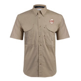 Khaki Short Sleeve Performance Fishing Shirt-Official Logo - C Charleston