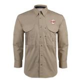 Khaki Long Sleeve Performance Fishing Shirt-Official Logo - C Charleston