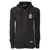 Ladies Under Armour Black Varsity Full Zip Hoodie-Official Logo - C Charleston
