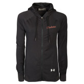 Ladies Under Armour Black Varsity Full Zip Hoodie-Charleston Script