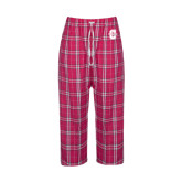Ladies Dark Fuchsia/White Flannel Pajama Pant-Official Logo - C Charleston Tone