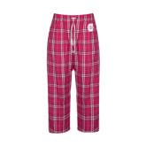 Ladies Dark Fuchsia/White Flannel Pajama Pant-Official Logo - C Charleston Tone