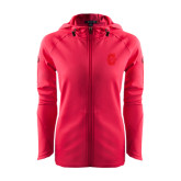 Ladies Tech Fleece Full Zip Hot Pink Hooded Jacket-Official Logo - C Charleston Tone