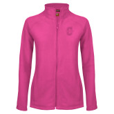 Ladies Fleece Full Zip Raspberry Jacket-Official Logo - C Charleston Tone