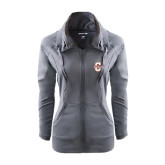 Ladies Sport Wick Stretch Full Zip Charcoal Jacket-Official Logo - C Charleston