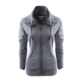 Ladies Sport Wick Stretch Full Zip Charcoal Jacket-Charleston Script