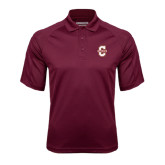 Maroon Textured Saddle Shoulder Polo-Official Logo - C Charleston