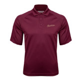 Maroon Textured Saddle Shoulder Polo-Charleston Script