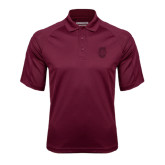 Maroon Textured Saddle Shoulder Polo-Official Logo - C Charleston Tone