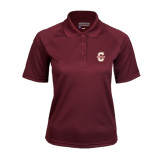 Ladies Maroon Textured Saddle Shoulder Polo-Official Logo - C Charleston