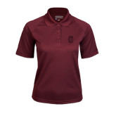 Ladies Maroon Textured Saddle Shoulder Polo-Official Logo - C Charleston Tone