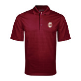 Maroon Mini Stripe Polo-Official Logo - C Charleston