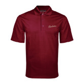 Maroon Mini Stripe Polo-Charleston Script