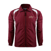 Colorblock Maroon/White Wind Jacket-The College Script