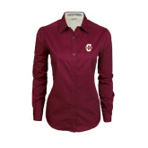 Ladies Maroon Twill Button Down Long Sleeve-Official Logo - C Charleston