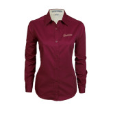 Ladies Maroon Twill Button Down Long Sleeve-Charleston Script