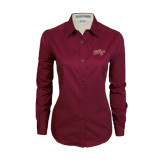 Ladies Maroon Twill Button Down Long Sleeve-The College Script