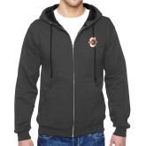 Charcoal Fleece Full Zip Hoodie-Official Logo - C Charleston