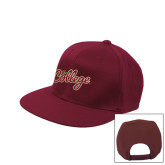 Maroon Flat Bill Snapback Hat-The College Script